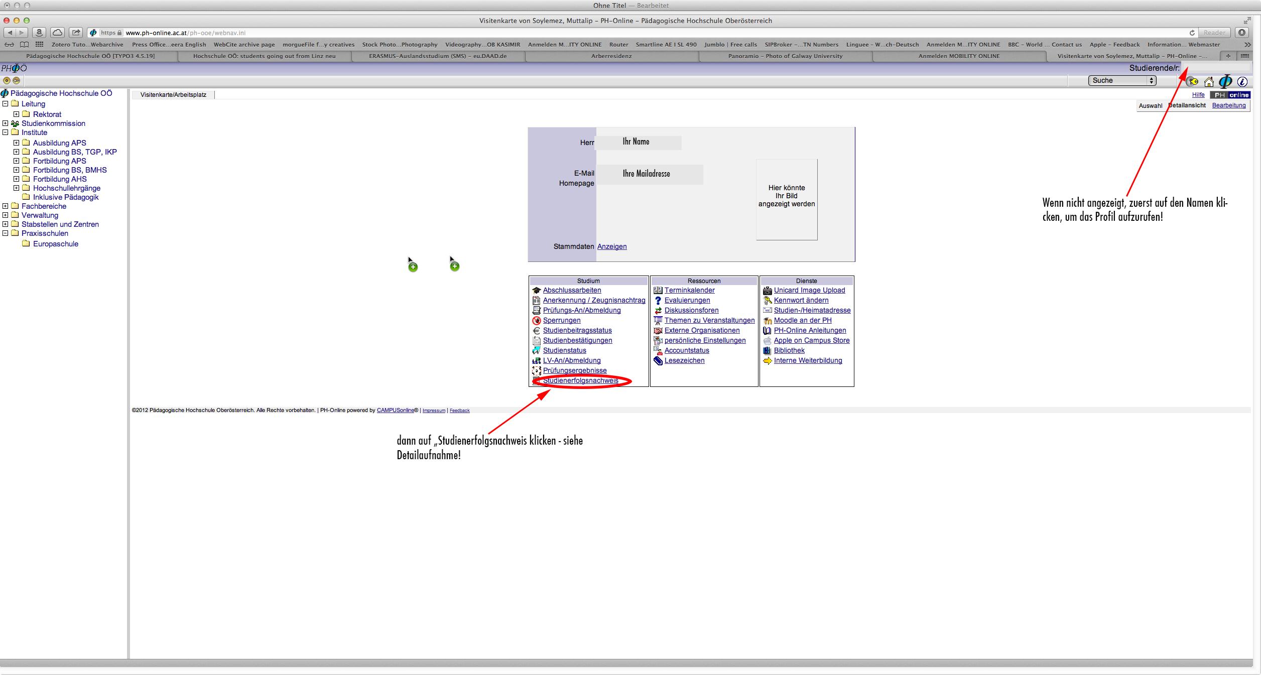 Pädagogische Hochschule O– Screenshots ausdrucken Stu nnachweis